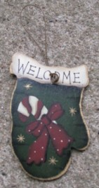 47069WCC - Welcome Candy Cane Mitten Wood Ornament
