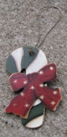 47069cc-Candy Cane Red Bow Wood Ornament