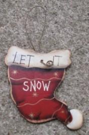 Wood Christmas Ornament 47069lish - Let it snow Hat