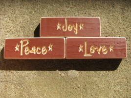 Primitive Engraved Wood Blocks Set of 3 HW516BUR Joy Peace Love