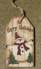 52082JS - Snowman Wood Gift Tag with Happy Holidays