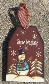 Wood Christmas 55719 Snowman Snow Wanted Tag