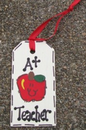 Teacher Gifts 56122AT A Plus Teacher Wood Teacher Tag