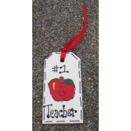 Teacher Gifts 56122NT All Star Number one Teacher Wood Teacher Tag