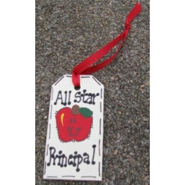 Teacher Gifts  56122P All Star Principal Wood Tag