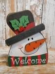 5729  Welcome Snowman Christmas wood block