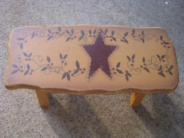 Primitive Wood Stool  60276SV - Star Vine  Stool