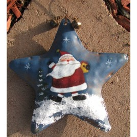 62284S - Santa Blue Metal Star Ornament