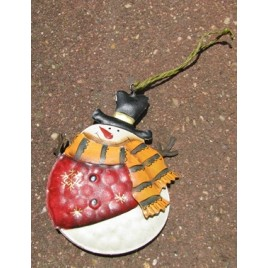 62315RVYGS Metal Snowman with Top Hat Red Vest Yellow Scarf