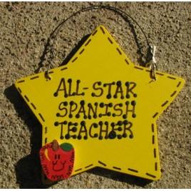 Spanish Teacher Gift Yellow Star w/Apple 7024  All Star Spanish Teacher