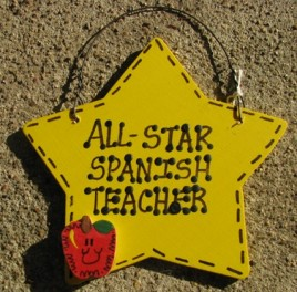 Spanish Teacher Gift Yellow Star w/Apple 7024  All Star Spanish Teacher