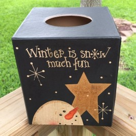 Kleenex Box Cover  Paper Mache' 7TB299 -Winter is Snow Much Fun Snowman