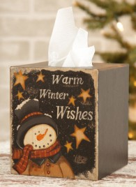 Primitive Tissue Box Paper Mache' 7TB338-Warm Winter Wishes