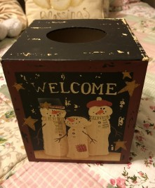 Kleenex Box Cover Paper Mache' 7TB341 - Welcome Snowman