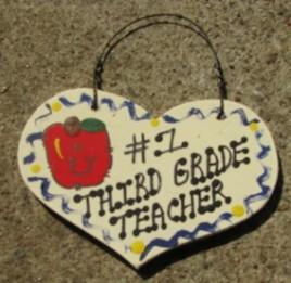 Teacher Gifts  802 Third Grade Teacher  Wood Teacher Heart