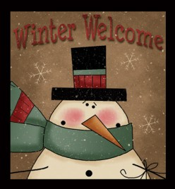 Primitive Wood Sign 844WW - Winter Welcome Snowman