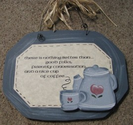 847CB-Cup of Coffee wood sign