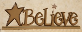 8W1202   Believe Free Standing Word Block