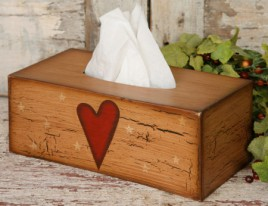 Primitive Tissue Box Cover Paper Mache' 8TB2501-Star/Heart