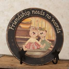 8w1291-Friendship need no words  Wood Plate