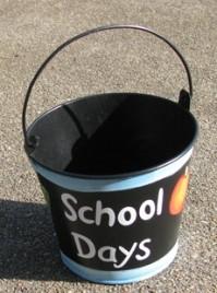 90851B - School Days Blue Tin teacher Bucket with Handle