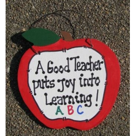 Teachers Gifts - 9171J  Apple  A Good Teacher puts Joy Learning Wood sign