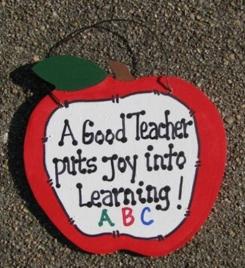 Teachers Gifts - 9171J  Apple  A Good Teacher puts Joy Learning Wood sign