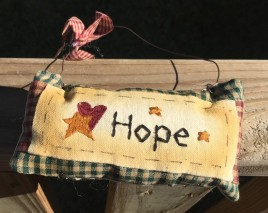 99280H Hope Mini Pillow with gingham ribbon Hangs by wire