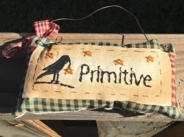 99280P Primitive Mini Pillow with gingham ribbon