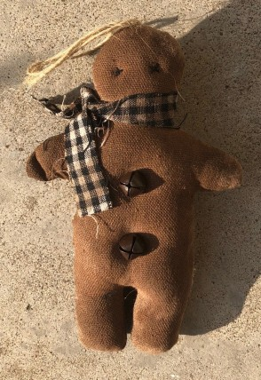 CS-36463 Stuffed Gingerbread with gingham ribbon scarf