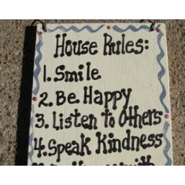CS6288 -House Rules  wood sign