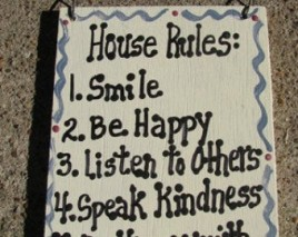 CS6288 -House Rules  wood sign