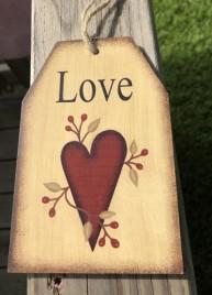 Primitive Decor Love Heart Wood Tag