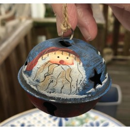 512-79408nb Blue Santa Bell Metal Christmas Ornament