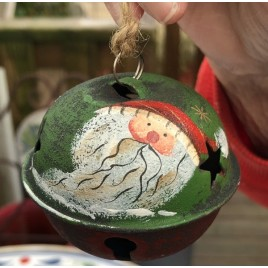 512-79408nb Santa Green Red Hat Bell Metal Christmas Ornament