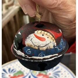 512-79408nb Snowman Red Hat Blue Scarf Ball Metal Christmas Ornament