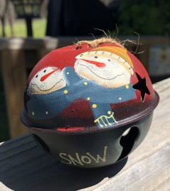 66281 - Snowman Snow with Blue Scarf metal Bell Ornament