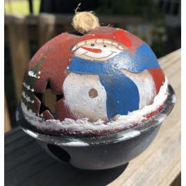 63066SG - Snowman Blue Scarf metal Bell Ornament