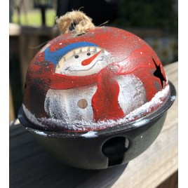 63066SRS  -  Snowman Red Scarf metal Bell Ornament