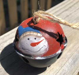 66283 - Snowman Red metal Bell Ornament with Blue Hat