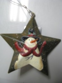 OR201 - Snowman Metal Red Scarf Christmas Ornament