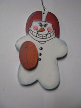 Football Snowman WD1057 Wood Christmas ornament