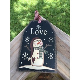 Primitive Wood Gift Tag 206-69483 Love Black Snowman Tag Ornament