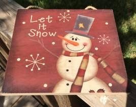 Christmas Decor 2424 Primitive Wood Hanging Snowman Let it Snow Sign