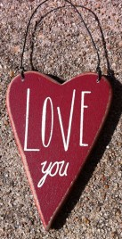 Wood Valentine Red Heart RO-494 Love You