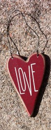 Wood Valentine Red Love Heart RO495 Love Heart