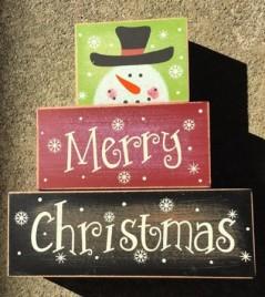 Snowman Merry Christmas 3SMCB -Block set of 3 Wood