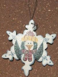 Wood Christmas Ornament WD1190 - Snowflake Peguin