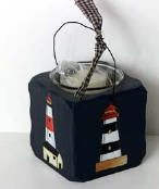 2042 - Lighthouse Collector wood candle holder