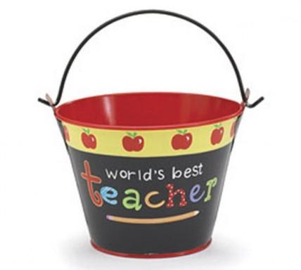 Teacher Gifts 485193 World's Best Teacher Pail Tin